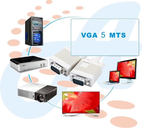 cable vga macho 5metros hd 15db video tv monitor excelente
