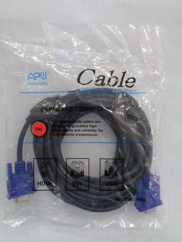 cable vga macho macho 5 metros con doble filtro 15 pin