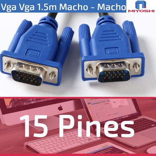 cable vga monitor doble filtro macho macho proyector lcd pc