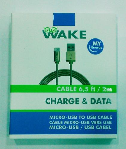 cable wake micro usb nylon 2 mts dorado tienda fisica