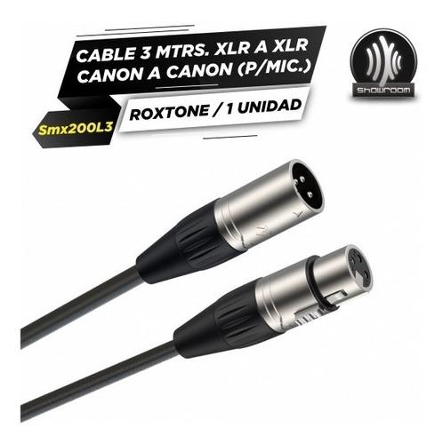 cable xlr canon 3 metros balanceado roxtone smx200l3