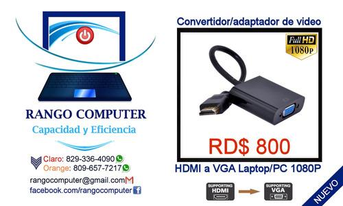 cable/adaptador video hdmi a vga monitor/proyector pc/laptop
