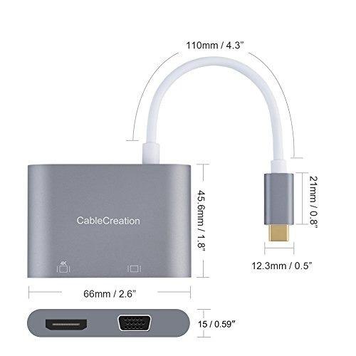 cablecreation usb-c a hdmi 4k + vga 2en 1adaptador, compa