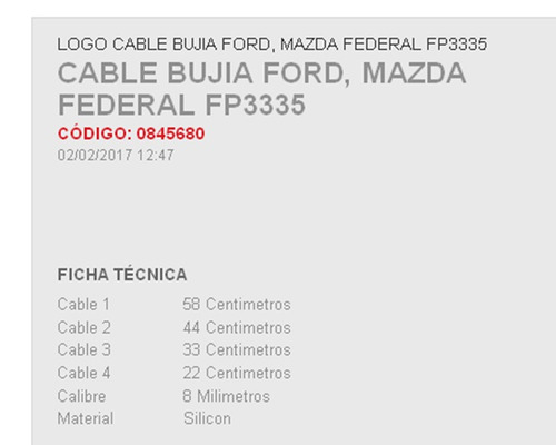 cables bujia ford escape 4 cil 2.0 l 01-04