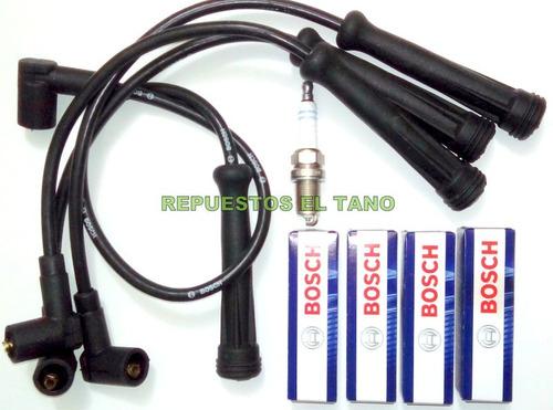cables y bujias renault logan sandero 1.6 8v k7m bosch