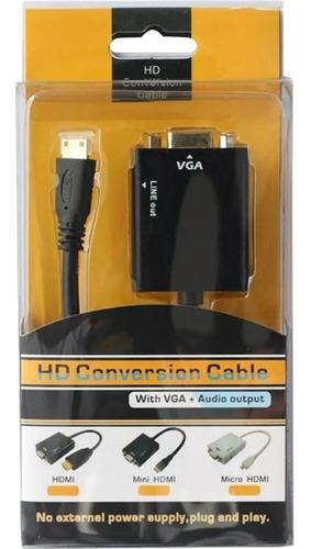 cabo adaptador conversor hdmi para vga com saída p2 de áudio