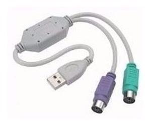 cabo adaptador conversor usb 2portas ps2 p/ teclado e mouse