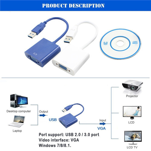 cabo adaptador conversor usb p/ vga monitor multitelas pc