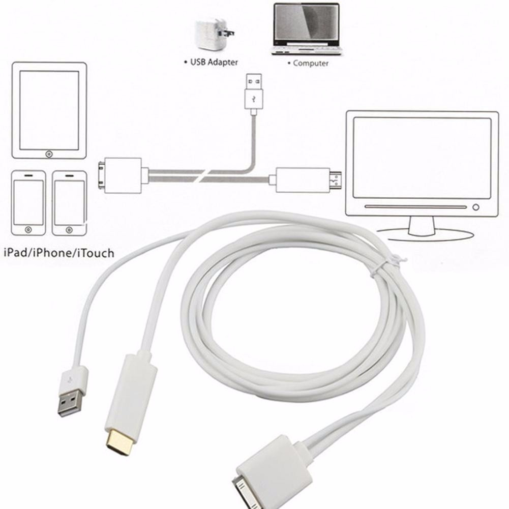 300d7a5329f cabo adaptador hdmi usb apple iphone 4/4s, ipad 2 3 ios 7. Carregando zoom.