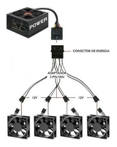 cabo adaptador multi fan 4 coolers fan 4 x 3 ou 4 pinos 12v