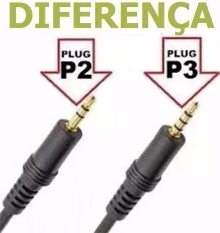 cabo adaptador p3 (p2 combo) p/ fone e microfone de lapela