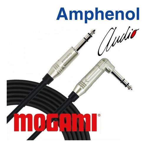 cabo áudio balanceado p10 stéreo 90g reto 1m mogami amphenol
