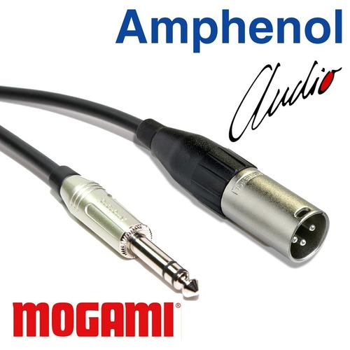 cabo áudio balanceado xlr macho p10 estéreo 1m amphenol 2pçs