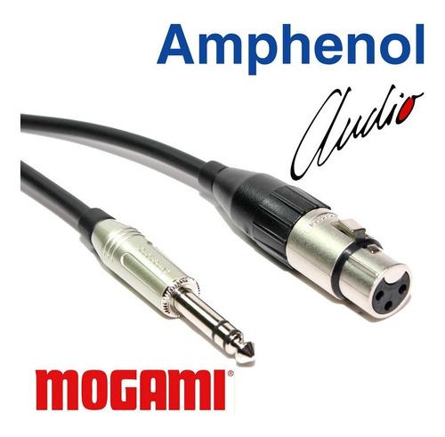 cabo balanceado xlr fêmea x p10 stéreo 2m mogami amphenol