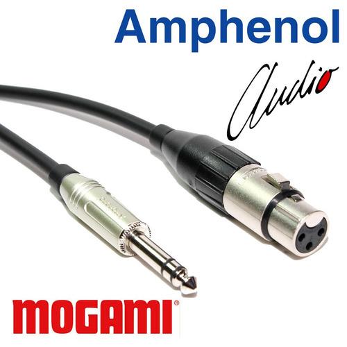 cabo balanceado xlr fêmea x p10 stéreo 3m mogami amphenol