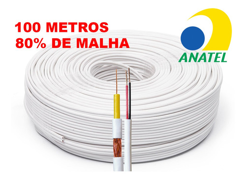 cabo câmeras segurança 4mm 80% bipolar 100 metros anatel awg