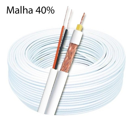 cabo coaxial cftv flexível 4mm bipolar 2 vias 40% malha 100m