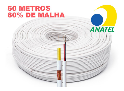cabo coaxial flexível 4mm 80 malha bipolar 50 metros anatel