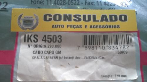 cabo com botão branco do capô capuz opala 75 a 83 iks 4503