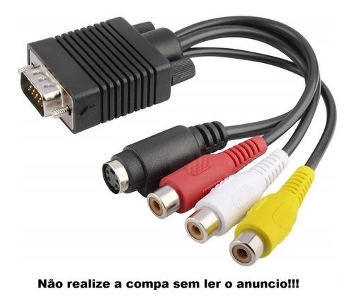 cabo conversor adaptador vga-tv s-video x rca av frete fixo