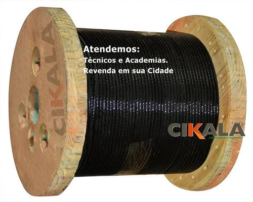 cabo de aço p/ academia revestido preto 1/8 4,8mm 6x19 50 m