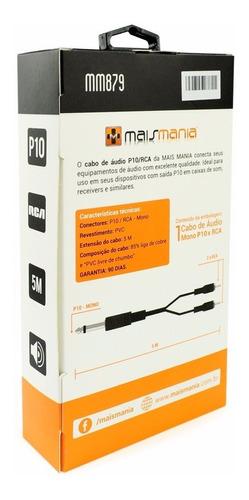 cabo de audio estéreo p10 / rca mono 5 metros pvc 879