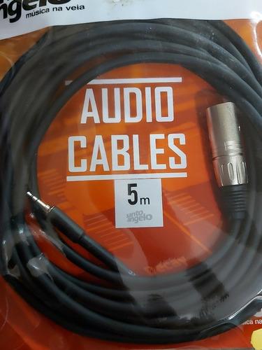 cabo de áudio santo ângelo preto 0,3mm p2 xlr macho 5m