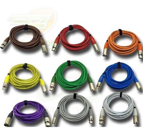 cabo de microfone xlr colorido conector amphenol colorido 3m