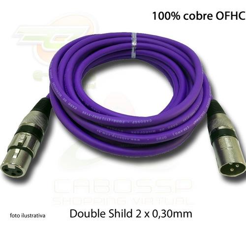 cabo de microfone/dmx balanceado 2x0,30mm roxo 5 metros