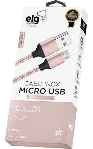 cabo de recarga e sincronização inox micro usb - elg