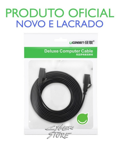 cabo de rede cat7 15m - ugreen flat deluxe patch cord 10gbps