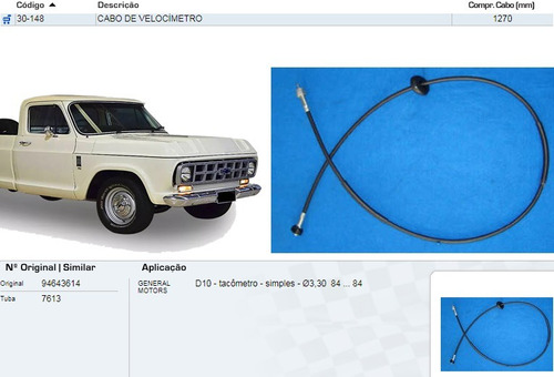 cabo de velocimetro d-10 1984 1270mm tacômetro simples