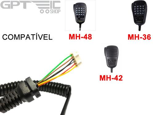 cabo espiralado para microfone yaesu mh48 mh42 mh36