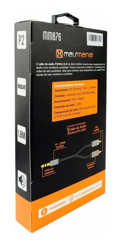cabo estéreo conectores p2 3,5mm / rca hi-fi metal 876