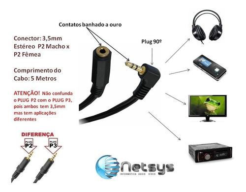 cabo extensor extensão p2 5mt metros estéreo fone ouvido mp3