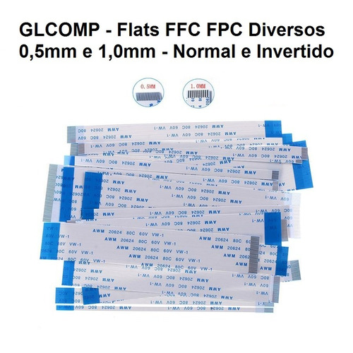cabo flat awm normal e invertido passo 0,5 e 1,0mm - 3 pçs