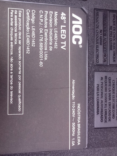cabo flat tv led aoc le48d1452