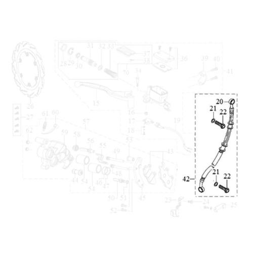 cabo flexível do freio dianteiro apache 150 original dafra