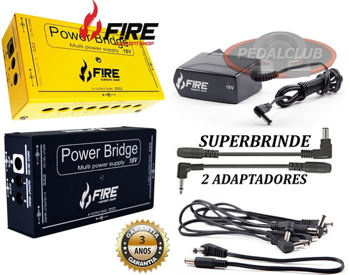 cabo fonte fire pedal 12 pedais power bridge 18 9v e 18v