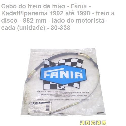 cabo freio mão - fânia - freio/disco - 882 mm - esq - 30-333