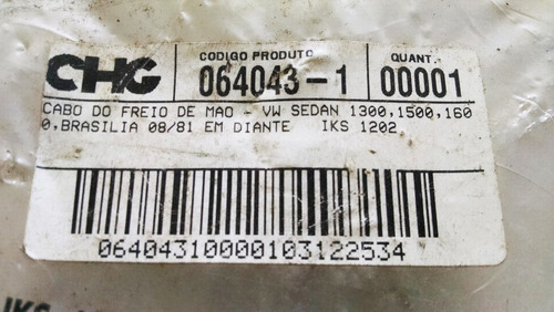 cabo freio vw fusca sedan 1300,1500,1600/ brasília- iks1202