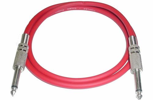 cabo guitarra p10 mono x p10 mono 3 metros  vermelho