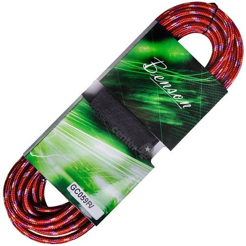 cabo guitarra violão 10m metros blindado p10 têxtil vermelho