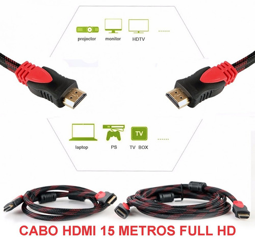 cabo hdmi 15m 4k ps3 ps4 projetor tv led lcd hd 15 metros