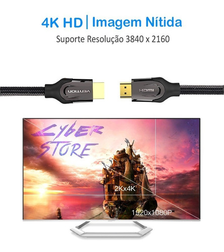 cabo hdmi 2.0 vention monster 2m blindado ultra hd 4k hdr 3d