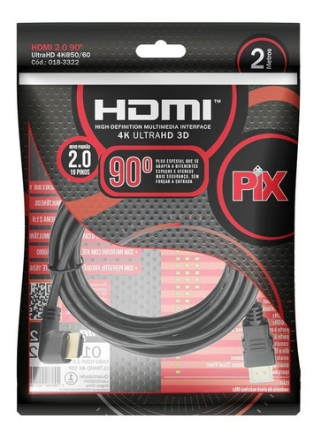 cabo hdmi 2m 2.0 4k 19 pinos - plug 90 graus