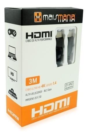 cabo hdmi 3 metros áudio 7.1  ultra hd 4k 3d banhado à ouro