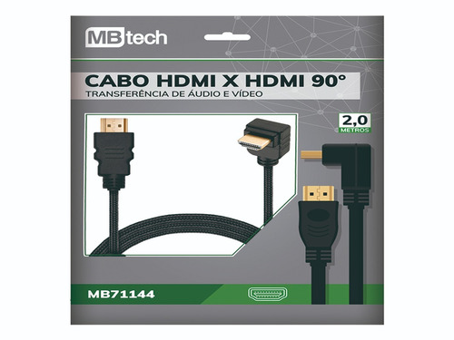 cabo hdmi x hdmi 90º 1080p 3d/4k 2mts audio e video 19 pinos