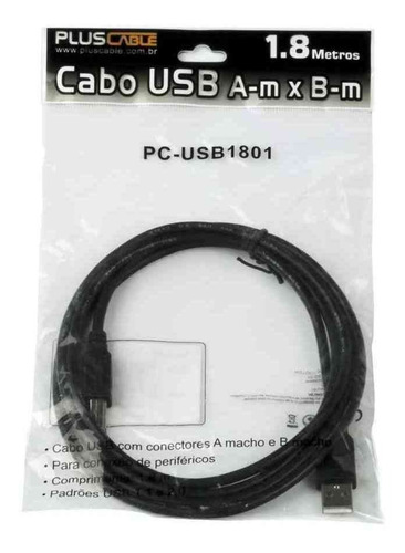 cabo impressora 1.8m usb 2.0 am x bm hp epson brother cameo
