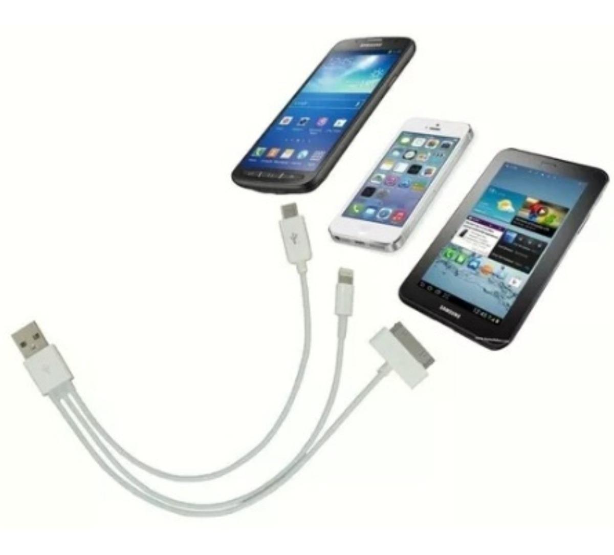 quality design 59873 cbe65 Cabo iPhone 5 6 7 iPhone 3 4 iPad 1 2 3+usb Micro Padrão 3x1